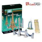 3D puzzle: Mini építészeti sorozat 1 - Eiffel torony, Burdzs Al Arab, Tower Bridge, Petronas torony, Pisai ferde torony CubicFun épület makettek