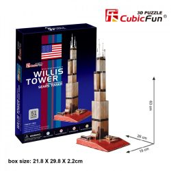 3D puzzle: Willis tower CubicFun 3D híres épület makett
