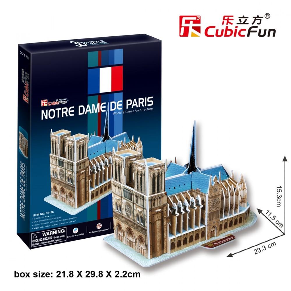3D puzzle: Notre Dame de Paris CubicFun building models ...