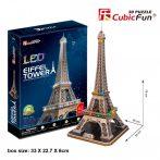 3d LED világítós puzzle: Eiffel torony (France) Cubicfun 3D épület makettek