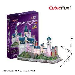 3d LED világítós puzzle: Neuschwanstein Kastély Cubicfun 3D épület makettek