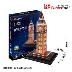 3d LED világítós puzzle: Big Ben (UK) Cubicfun épület makett