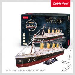 3d profi puzzle: Titanic CubicFun hajó makett LED világítással