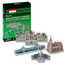 3D puzzle: Híres Magyar épületek: Parlament, Lánchíd, Hősök tere, Mátyás templom CubicFun 3D magyar épület makettek