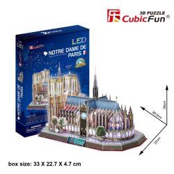 3d LED lighting puzzle: Notre Dame de Paris CubicFun 3D building models