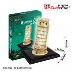 3d LED világítós puzzle: Pisai ferde torony Cubicfun épület makett